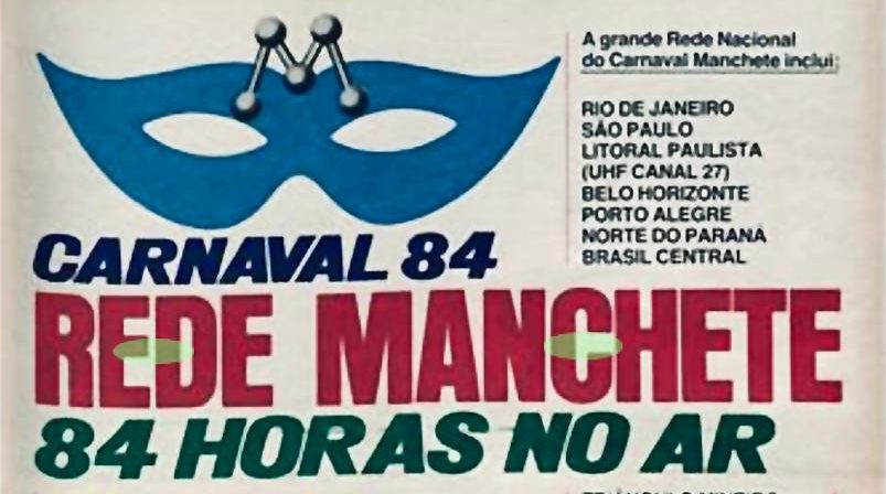 Anúncio em revistas sobre o Carnaval 84